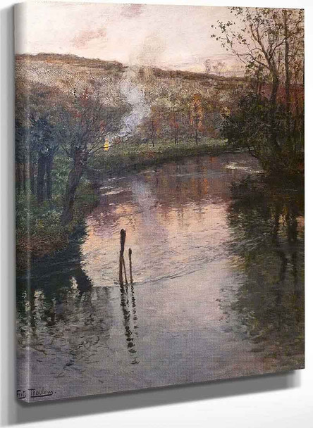 Evening On The River Arques In Pequigny By Fritz Thaulow