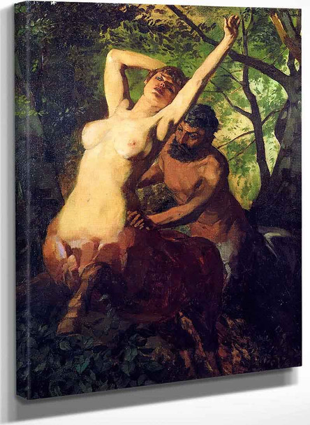 Pair Of Centaurs In The Woods By Wilhelm Trubner