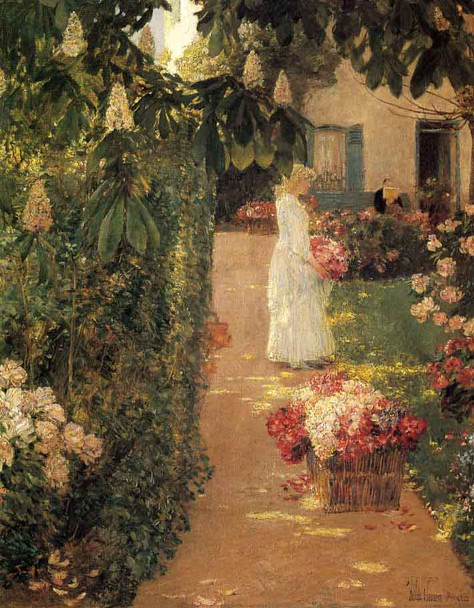 Gathering Flowers In A French Garden By Frederick Childe Hassam