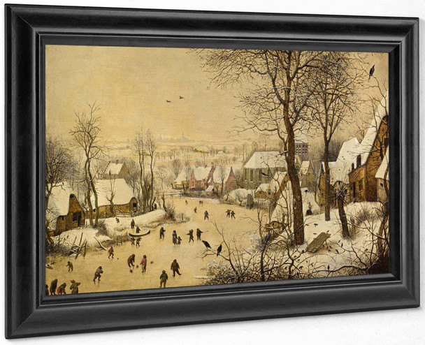 Winter Landscape With Skaters And Birds Trap by Pieter Bruegel The Elder