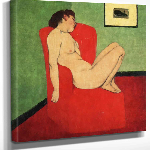 Nude Seated In Red Armchair Felix Valletton