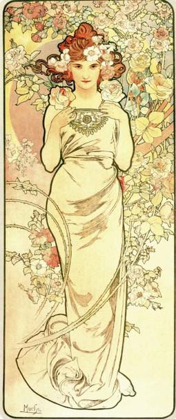 The Flowers Rose by Alphonse Mucha Fine Art Print