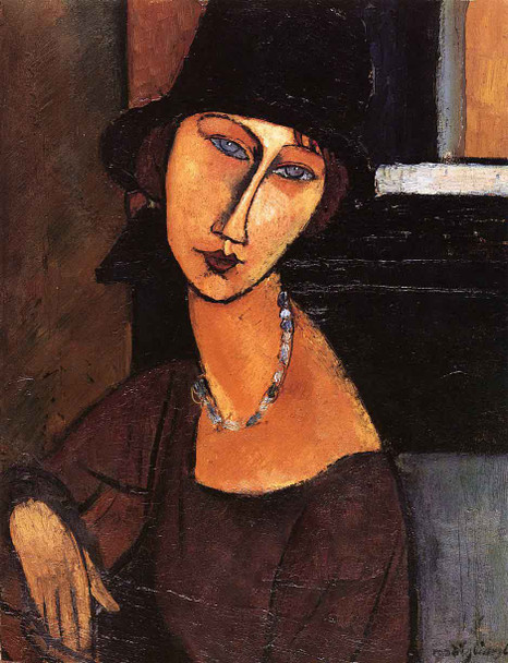 Jeanne Hebuterne With Hat And Necklace By Amedeo Modigliani