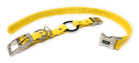 "E-Collar 1"" Quick Snap Double Buckle Bungee Yellow Biothane Replacement Strap,Yellow"