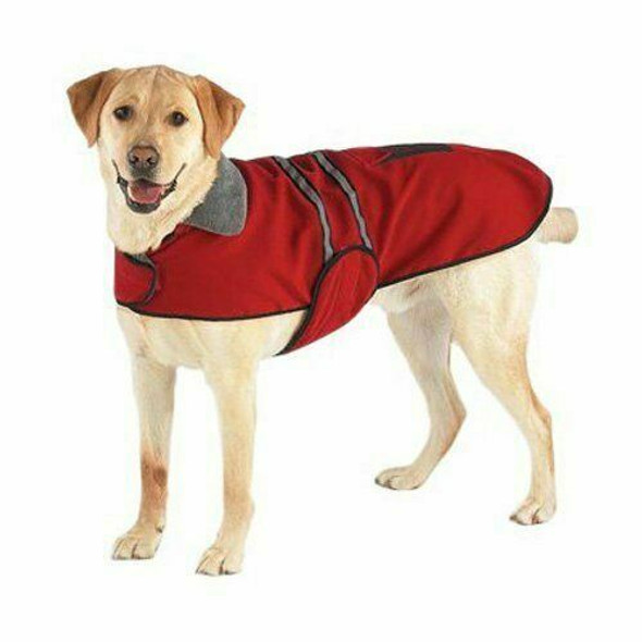 Casual Canine Reflective Red Hooded Jacket for Night Visibility with Free Leash