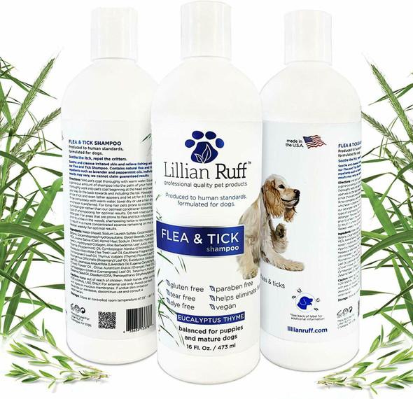 Lillian Ruff Flea & Tick Shampoo Eucalyptus Thyme16 oz with 2 Safari Flea Combs