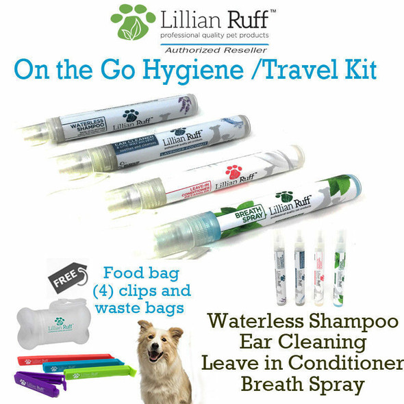 Lillian Ruff On The Go Hygiene 4 Pc Travel Set + Free Poop Bags & Binder Clips