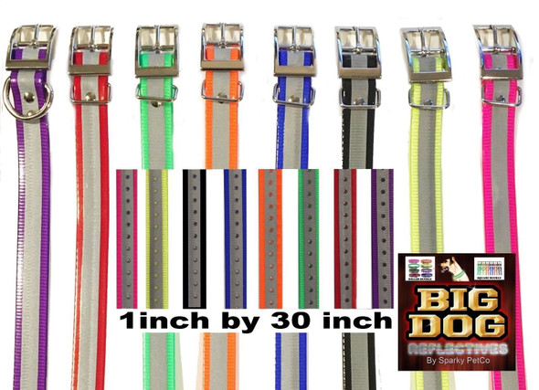 "Sparky Pet 1"" 2- Orange Reflective Square Buckle High Flex Dog Strap"