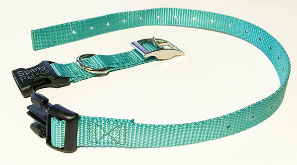 "Sparky Pet Co E-Collar 3/4"" Quick Snap Double Buckle Dog Strap, Teal"
