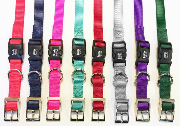 "Sparky Pet Co E-Collar 3/4"" Quick Snap Double Buckle Dog Strap, Neon Pink"