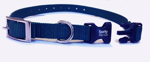 "Sparky Pet Co E-Collar 3/4"" Quick Snap Double Buckle Dog Strap, Navy"