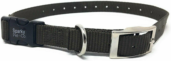 "Sparky Pet Co E-Collar 3/4"" Quick Snap Double Buckle Dog Strap, Brown"