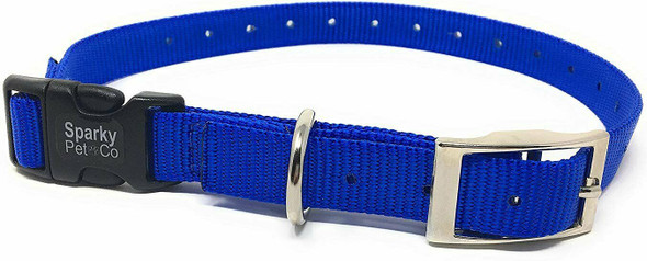 "Sparky Pet Co E-Collar 3/4"" Quick Snap Double Buckle Dog Strap, Royal Blue"