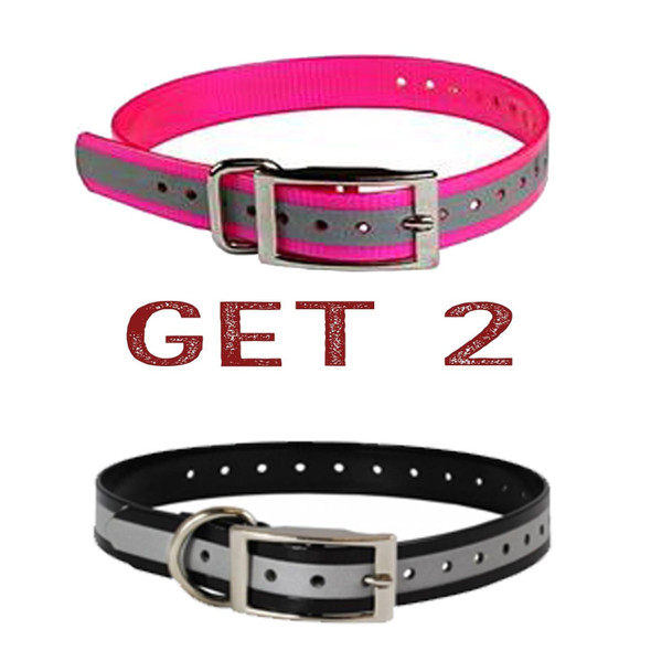 "Sparky Pet 1"" 1- Black/1- Pink Reflective Square Buckle High Flex Dog Strap"