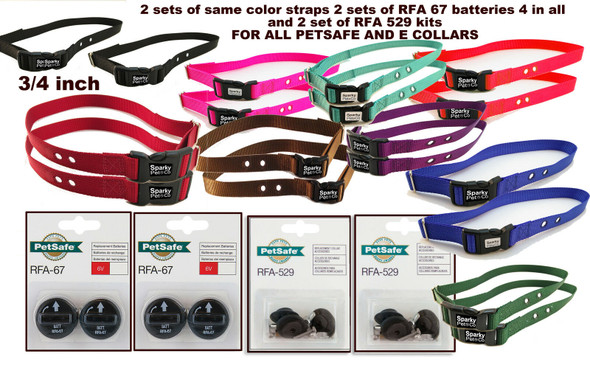 "Sparky Pet 3/4""(2) Dog Kit 2 Hole Dog Collar (2)RFA 529 Kit & (4)Batteries"