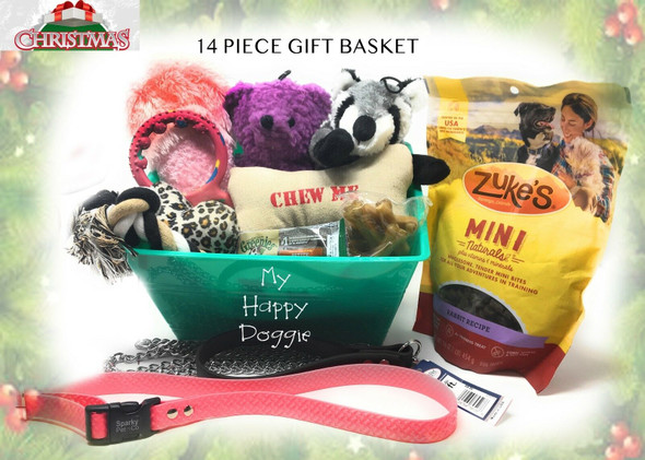 Christmas Doggie Basket Of Toys, Chews 2 Dog Collars Squeak Toys