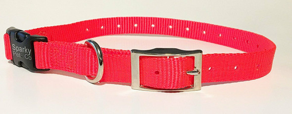 "Sparky Pet Co E-Collar 3/4"" Quick Snap Double Buckle Dog Strap, Neon Orange"