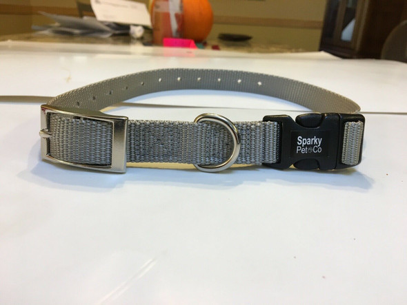 "Sparky Pet Co E-Collar 3/4"" Quick Snap Double Buckle Dog Strap, Silver Grey"