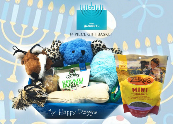 Happy Hanukkah Dog gift Baskets DOG Gift Basket DOG Toys and treats with Bucket Indicate Boy or Girl