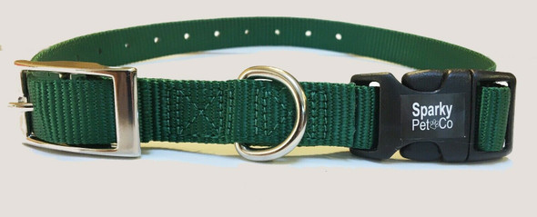 "Sparky Pet Co E-Collar 3/4"" Quick Snap Double Buckle Dog Strap, Green"