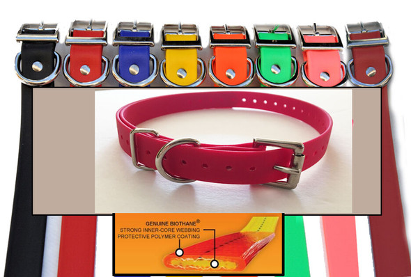 "E-Collar 3/4"" Red Biothane Dog Strap Bl-100, 300, 400 Educator"