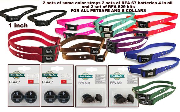 "Sparky Pet 1"" (2 )Dog Kit Dog 2 Hole with (2) RFA 529 Kit & (4) 67D Batteries"