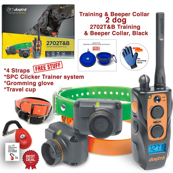 Dogtra 2702T&B Remote 2-Dog Training Beeper Collars Trainer System Train & Beep