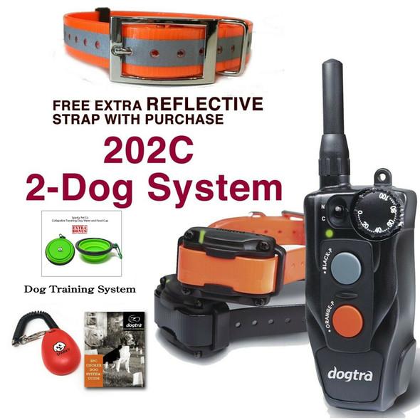 Dogtra 202C 2-Dog System, Extra Strap, Clicker Training System, Travel Bowl