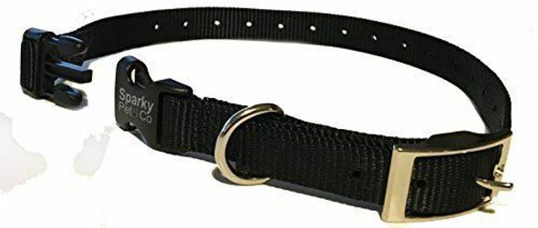 Sparky Pet Co Collar Compatible 3/4 Nylon Double Buckle Quick Snap Replacement Strap, BLACK