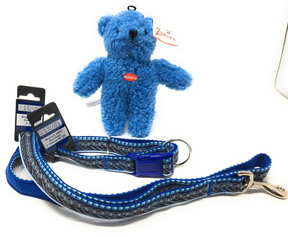 "Casual Canine Blue Aztec Small Dog 4 FT. Leash/ 6-10""Collar Set with Free Bear"