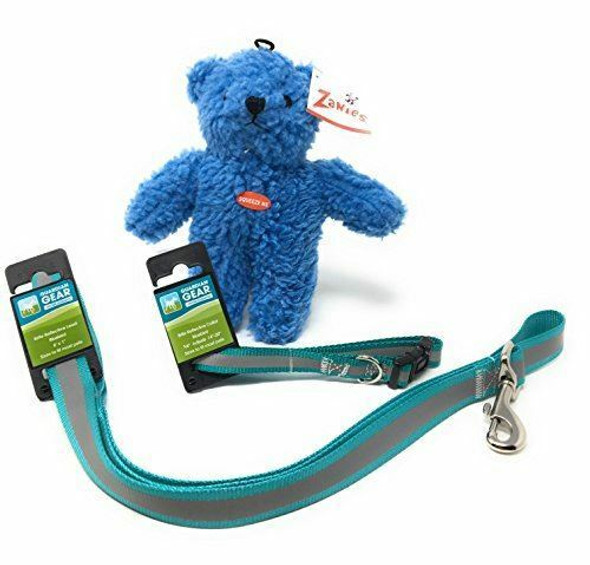 Guardian Gear Brite Reflective Blue Bird Dog Collars Leash Sets (18-26)