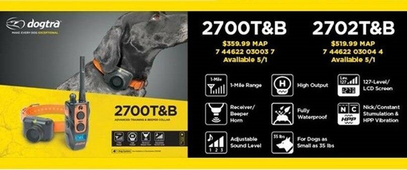 Dogtra 2700T&B Training And Beeper Collar 2700T&B with 2 Free Replacement Straps