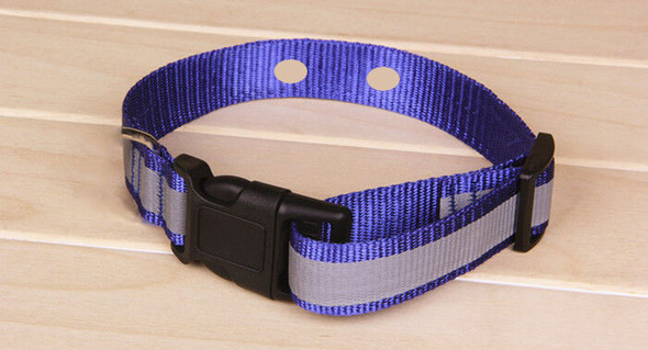 "Dog Fence Collar 1"" Nylon Blue Reflective Strap Innotek 2 Hole 1 5/8"" Apart"