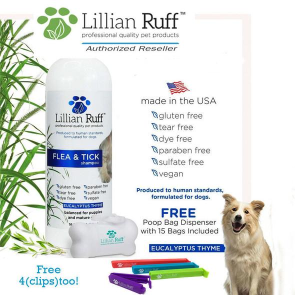 Lillian Ruff Flea & Tick Dog Shampoo Eucalyptus Thyme Scent 16 oz Free Poop Bags