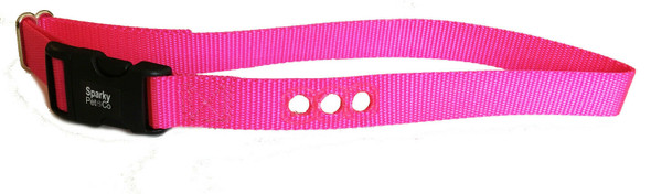 """0  Deluxe Bark Collar Compatible Strap PBC-302 PDBC300 Teal& Neon Pink- 3/4"""""""