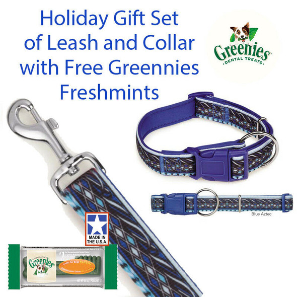 "Big Dog Blue Aztec 6 FT Lead 18-26"" 5/8"" Collar Gift Set & Free Greenies"