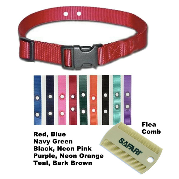 "3/4"" 2 Hole Replacement Collar Strap with Safari Flea Comb"