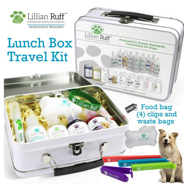 Lillian Ruff Dog Shampoo, Conditioner Travel Set Lunch Box Free Poop Bags