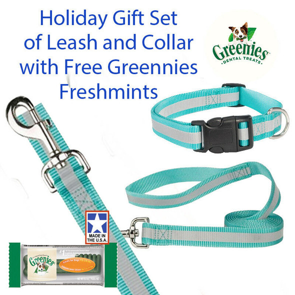 "Guardian Gear Reflective 6 FT Lead 14-20"" 5/8"" Collar Gift Set & Free Greenies"