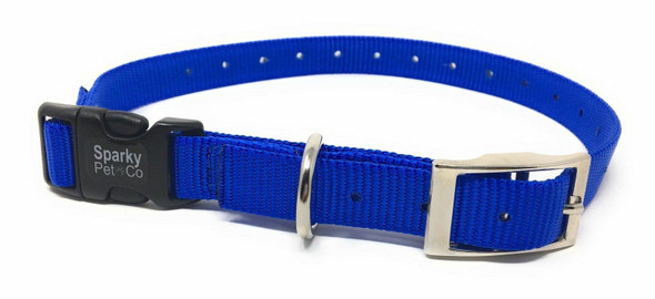 "Sparky Pet Co E-Collar Compatible 3/4"" Nylon Double Buckle Quick Snap Strap Blue"