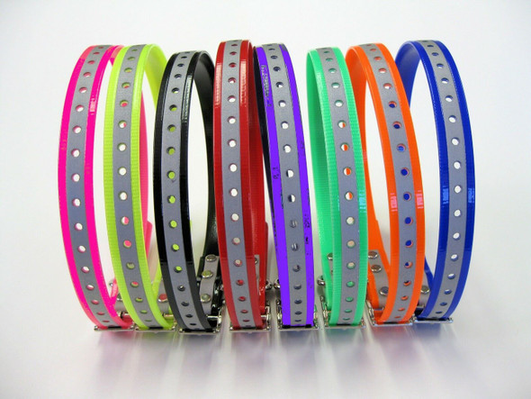 "1"" E-Collar Bark Collar Roller Buckle Reflective  Replacement Strap - 8 Colors"