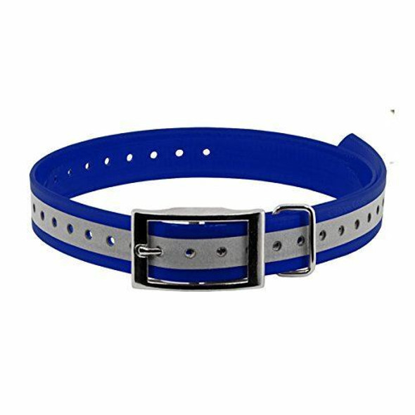 "Sparky Pet Co  3/4"" Roller Buckle High Flex Reflective Waterproof Blue Dog Strap"