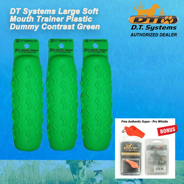 DT Systems 3 Green Dummy Large Soft-Mouth Dog Bird Hunt Retriever Free Whistle