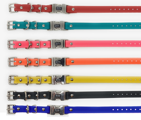 "Sparky Pet Co 3/4"" Waterproof Biothane Double Buckle E Collar Receiver Replacement Strap- 3/4"" x 28"" 7 Colors To Choose From  Keep your pet safe and yourself stress free 3/4"" Waterproof Biothane Double Buckle E Collar Receiver Replacement Strap- 3/4"" x 28"" Works with all E Collar Systems where the receiver threads onto the strap without contact points. Length 28 "". 7 Colors To Choose From- Metal Buckle ensures easy on/off feature Will fit on neck sizes between 11 1/2 inches and 24 inches. Simply trim to size with a scissor as it will fit all sport dogs Made in the USA"