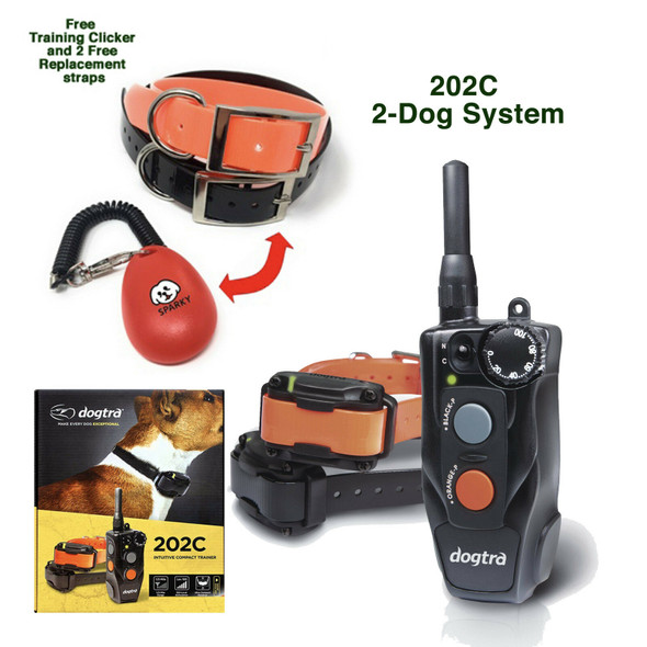 Dogtra 202C 2-Dog Training Collar with 2 Replacement Straps & Clicker Bundle