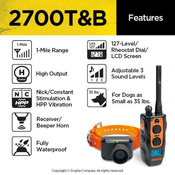 Dogtra 2700T&B Training and Beeper & 2 Free Straps & Clicker