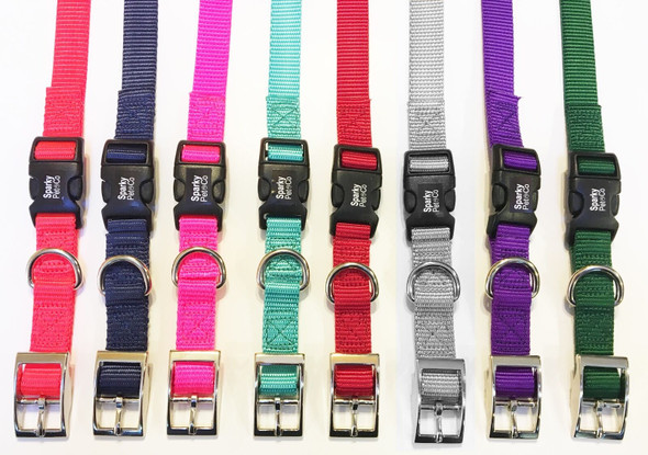 "Sparky Pet Co E-Collar Compatible 3/4"" Nylon Double Buckle Quick Snap Straps- TEAL"