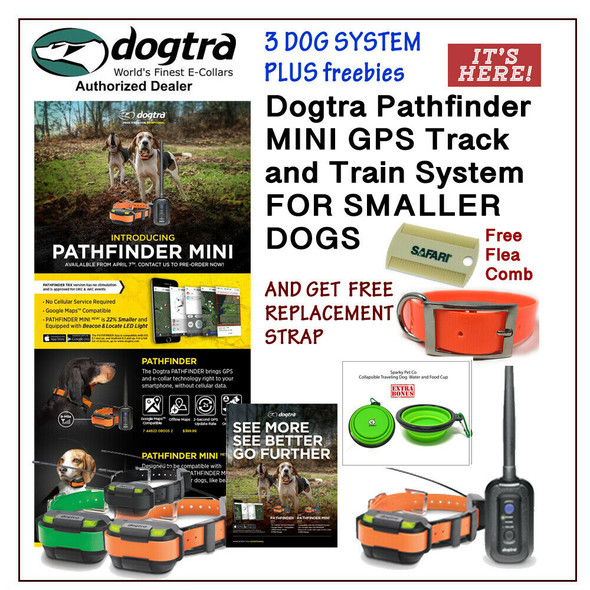 Dogtra Pathfinder Mini 3 E-Collars + 2 Free Straps, Flea Comb and Water Bowl