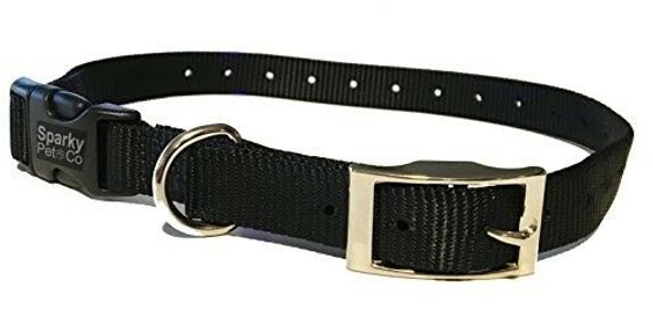 "Sparky Pet Co E-Collar Compatible Mini Black 3/4"" Nylon Double Buckle Quick Snap"