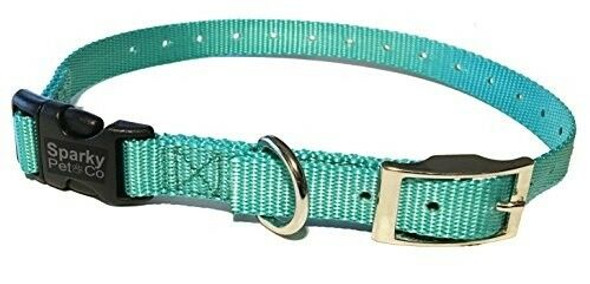 "Sparky Pet Co E-Collar Compatible Mini Teal 3/4"" Nylon Double Buckle Quick Snap"